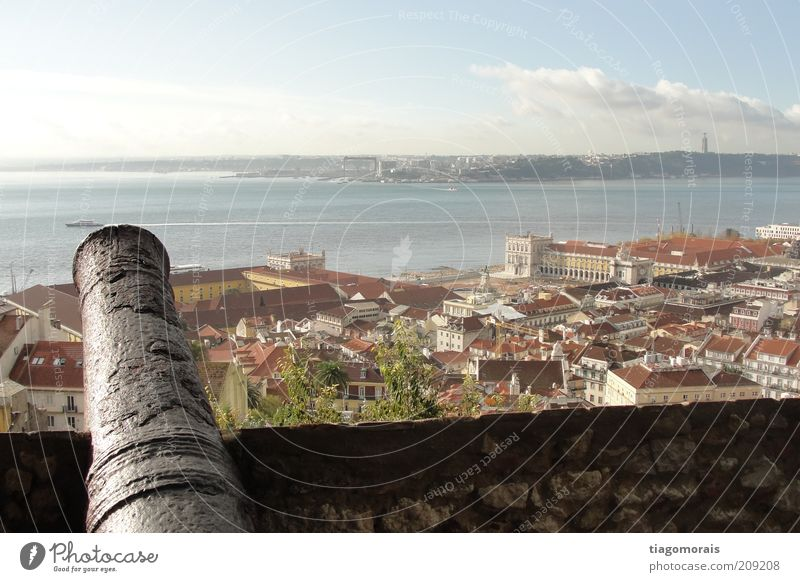 Protecting Lisbon Town Capital city Port City Downtown Old town Places Marketplace Harbour Might Perspective Colour photo Exterior shot Morning Bird's-eye view