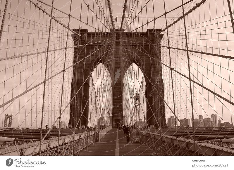 New York Brooklyn Bridge 2003 New York City Steel Steel bridge Suspension bridge USA 1883 Sepia