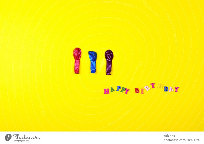 Birthday sign and three balloons Decoration Feasts & Celebrations Wood To enjoy Bright Yellow Red Happiness Colour greeting holiday Symbols and metaphors Guest