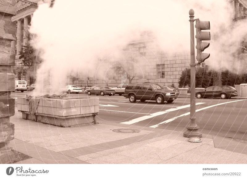City Road traffic USA Downtown Traffic light Crossroads Steam Sepia Monochrome Washington DC Outlet air