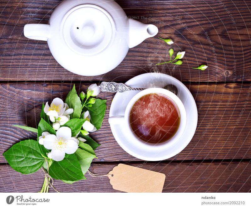 cup of black tea Breakfast Tea Mug Table Flower Leaf Paper Bouquet Wood Fresh Hot Brown Green White Tradition Jasmine drink food tag Top background blank space