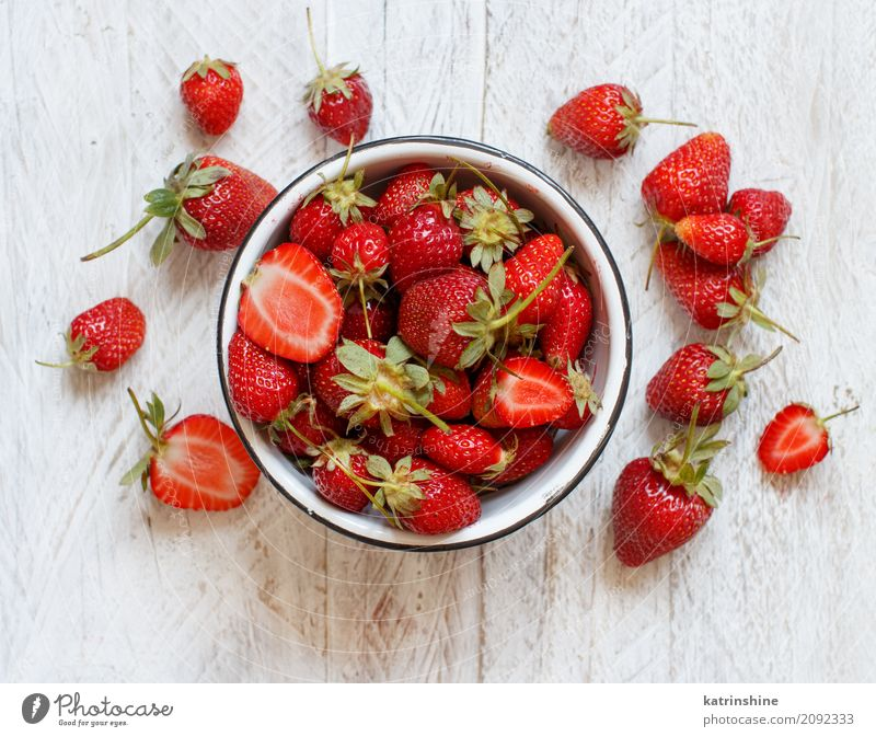 Strawberries in a bowl on a white wooden table Fruit Dessert Diet Bowl Summer Table Fresh Bright Delicious Natural Juicy Red White Colour Berries colorful