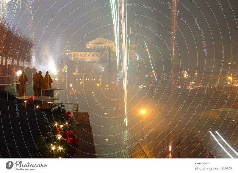 New Year's Eve 2003 II Semper Opera Dresden Multicoloured Long exposure Firecracker