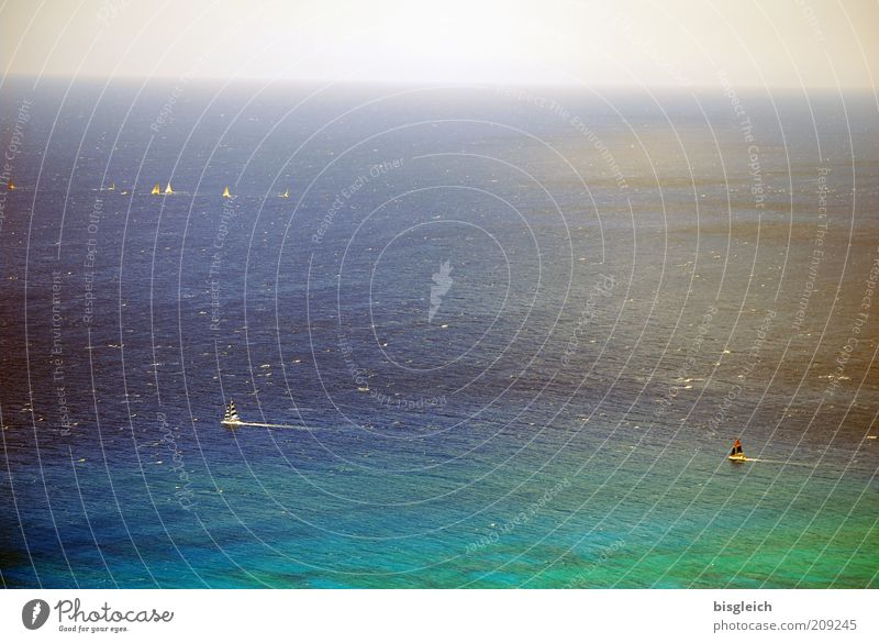Water Ocean Green Blue Calm Far-off places Horizon Serene Navigation Sailboat Pacific Ocean Aerial photograph