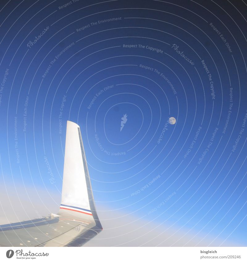 Sky Calm Air Airplane Wing Moon Beautiful weather Blue sky Aerial photograph Celestial bodies and the universe Passenger plane Cloudless sky Above the clouds View from the airplane