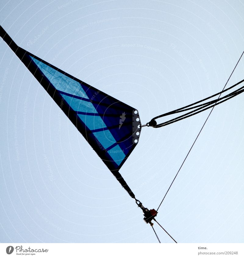 Sky Blue Rope Diagonal Beautiful weather Sail Sailboat Blue sky Objective Checkmark Triangle Copy Space Dependence Fastening Nature Function