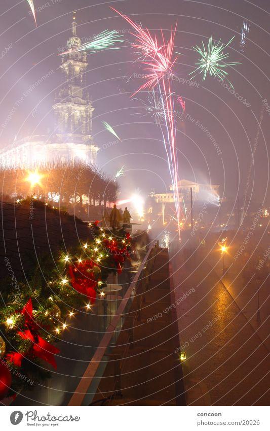 Sky New Year's Eve Firecracker Saxony Dresden Dresden Hofkirche