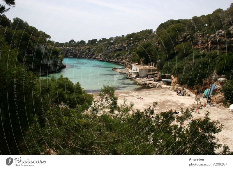 Cala Pi - Dream bay on Mallorca Environment Nature Landscape Elements Water Cloudless sky Summer Beautiful weather Canyon Beach Bay Fjord Ocean