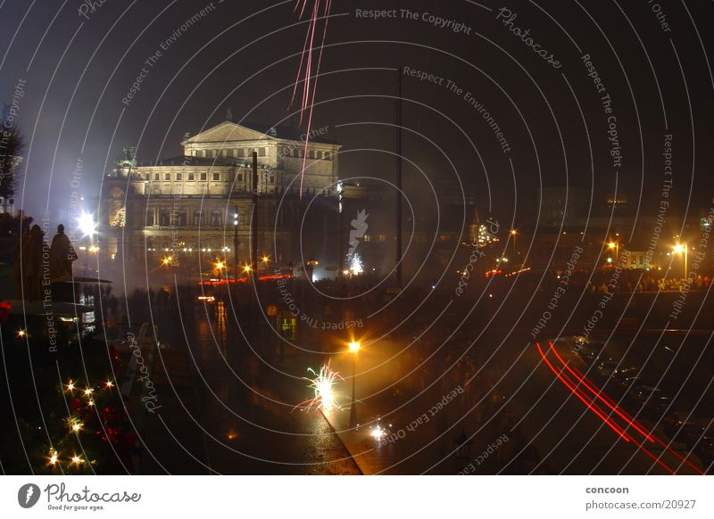 Europe New Year's Eve Dresden Smoke Firecracker Home country Semper Opera
