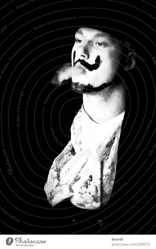 Human being Man Youth (Young adults) White Calm Black Style Dream Moody Adults Masculine Elegant Smoking Mask Exceptional Serene