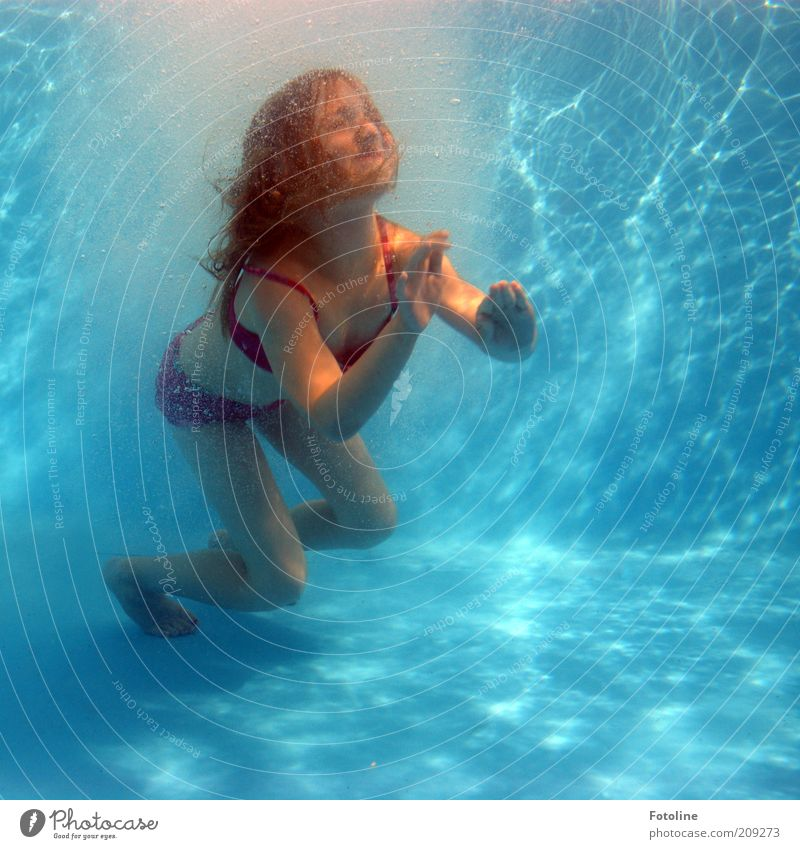 Human being Child Water Girl Blue Red Summer Joy Face Feminine Playing Hair and hairstyles Head Feet Legs Body