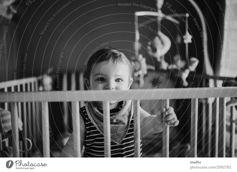 playpen Human being Masculine Child Baby Toddler Boy (child) Infancy 1 0 - 12 months Looking Stand Black & white photo Blonde Eyes Laughter Grating