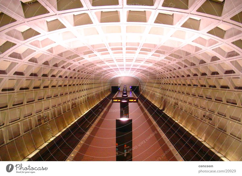 far away. Tunnel Underground Washington DC Architecture USA Iron-pipe Station symmetry Symetric Subway station