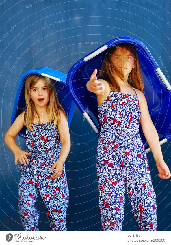 Human being Child Blue Girl Movement Fashion 2 Infancy Blonde Exceptional Cool (slang) Dress Hat Idea Suit Long-haired