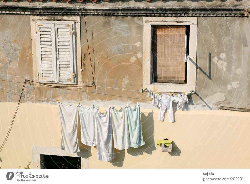 laundry in the sun Vacation & Travel Tourism City trip Summer Summer vacation Living or residing Dubrovnik Croatia Wall (barrier) Wall (building) Window