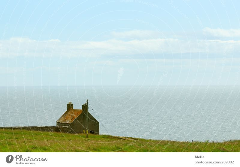 Nature Water Sky Ocean Vacation & Travel Calm House (Residential Structure) Loneliness Far-off places Meadow Emotions Grass Freedom Landscape Moody Coast