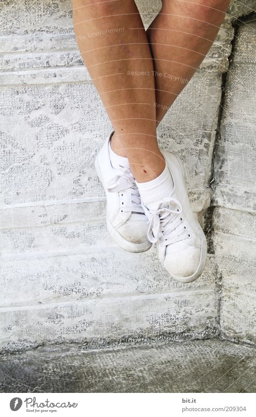 Youth (Young adults) White Joy Vacation & Travel Calm Life Relaxation Wall (building) Happy Stone Wall (barrier) Feet Footwear Legs Contentment Hiking