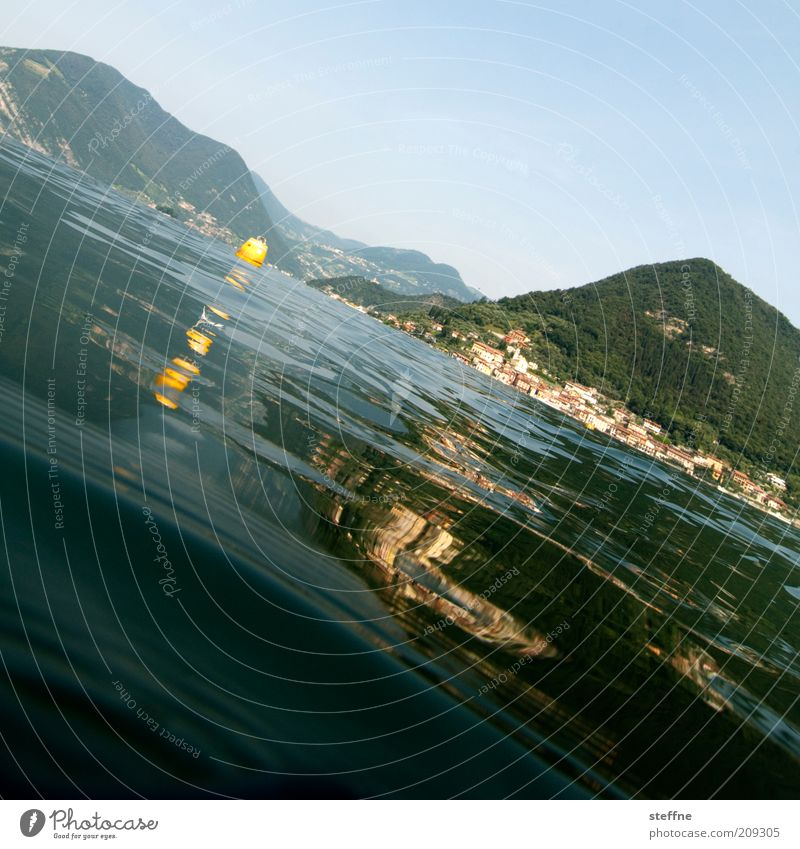 Nature Water Beautiful Summer Vacation & Travel Lake Landscape Waves Perspective Island Travel photography Italy Lakeside Beautiful weather Go under Buoy