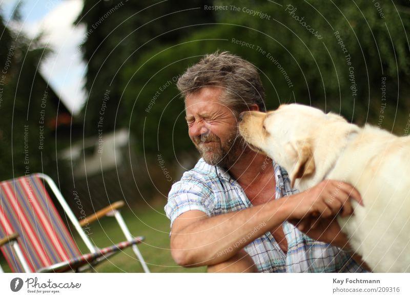 cats... uh... dog linen Garden Human being Masculine Man Adults 1 45 - 60 years Shirt Brunette Short-haired Beard Pet Dog Animal Sit Brash Attachment Lick