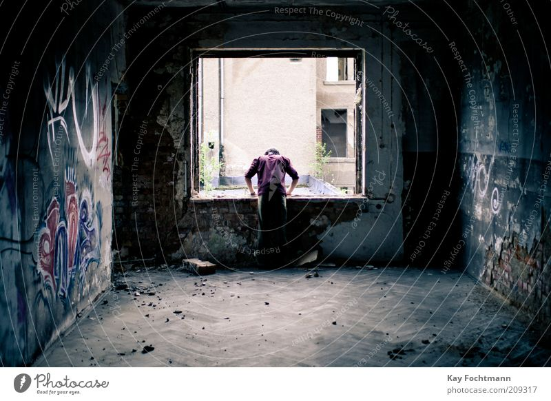 out of the blue Ruin Human being Masculine 1 Subculture Building Wall (barrier) Wall (building) Window Concrete Graffiti Stand Gloomy Gray Derelict Decline