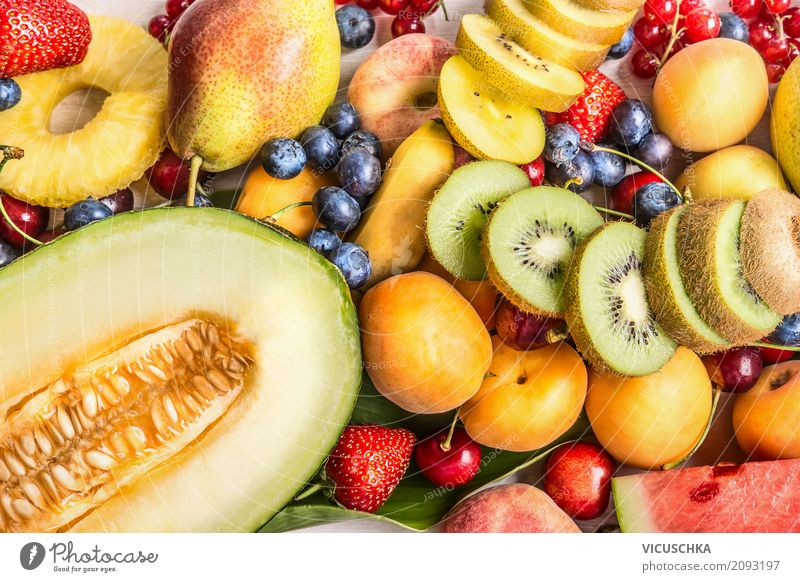 Variety of colorful summer fruits Food Fruit Dessert Nutrition Organic produce Vegetarian diet Diet Shopping Style Design Healthy Eating Life Summer Yellow