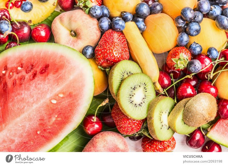 Watermelon and other summer fruits Food Fruit Dessert Nutrition Organic produce Vegetarian diet Diet Shopping Style Design Healthy Eating Life Summer Garden