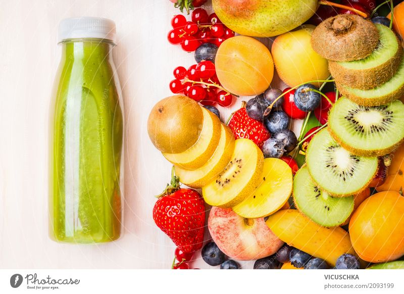 Green smoothie or juice with various fruits and berries Food Fruit Beverage Cold drink Juice Lifestyle Style Design Healthy Healthy Eating Yellow Cocktail