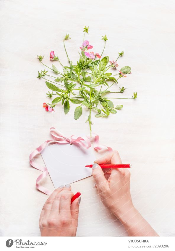 Female hand writes a greeting card Lifestyle Style Design Decoration Feasts & Celebrations Valentine's Day Mother's Day Wedding Birthday Human being Feminine