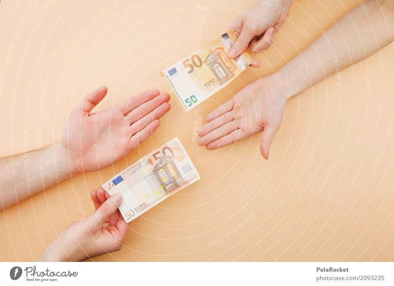 #ASJ# FIFTY FIFTY Art Esthetic Euro Europe Euro symbol Europe Day Euro bill Swap 50 Trade Business centre Chain store Money Give Side by side Hand