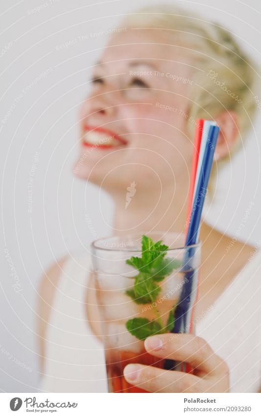 Woman Summer Joy Laughter Art Party Esthetic Blonde Smiling Lips Refreshment Alcoholic drinks Work of art Party goer Cocktail Straw