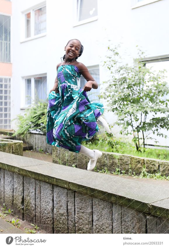 Human being Beautiful House (Residential Structure) Joy Girl Life Wall (building) Movement Laughter Wall (barrier) Happy Jump Contentment Power Creativity