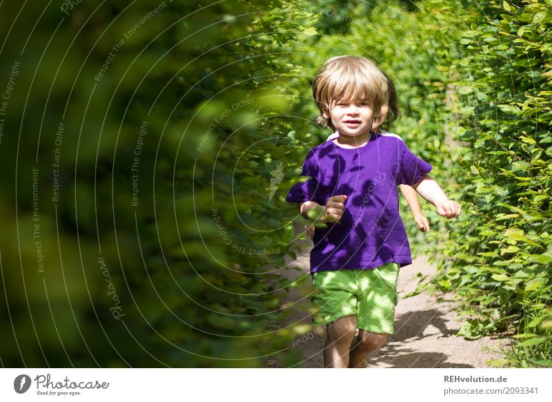 Human being Child Nature Summer Green Joy Environment Lanes & trails Natural Movement Boy (child) Laughter Small Playing Happy Friendship