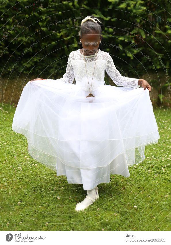 Human being Beautiful Girl Life Meadow Feminine Garden Esthetic Stand Dance Joie de vivre (Vitality) Romance Belief To hold on Dress Trust