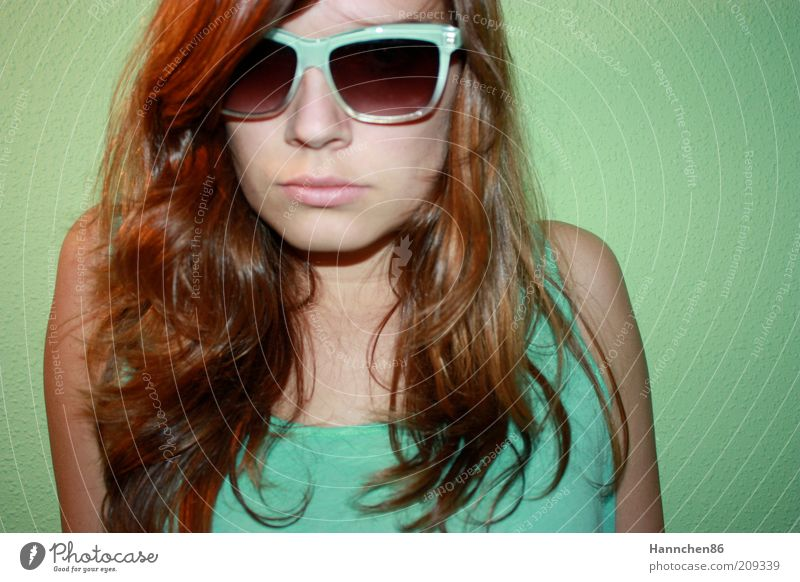 turquoise glasses Lifestyle Style Feminine Young woman Youth (Young adults) Face 1 Human being Sunglasses Brunette Long-haired Cool (slang) Modern Blue Green