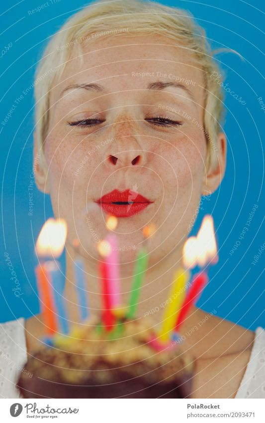 Woman Art Happy Esthetic Birthday Candle Desire Lips Surprise Blow Flame Jubilee Candlelight Congratulations Candlewick Party mood