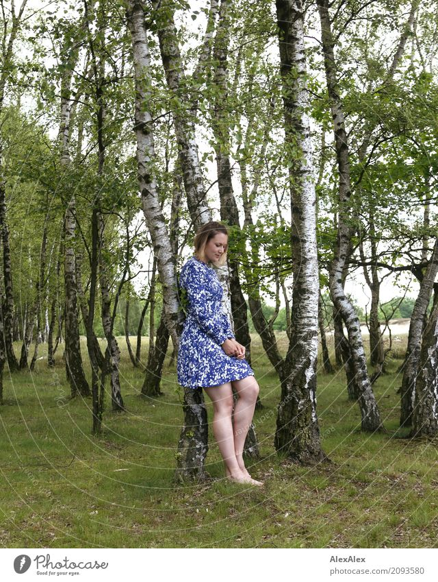 Photo with Laura Beautiful Trip Young woman Youth (Young adults) Body Legs 18 - 30 years Adults Nature Landscape Summer Beautiful weather Tree Grass Birch wood