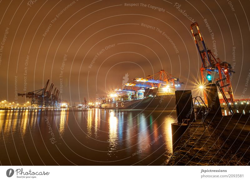Container port Terminal Hamburg in the evening Water Night sky Port City Transport Logistics Navigation Container ship Harbour Work and employment Maritime