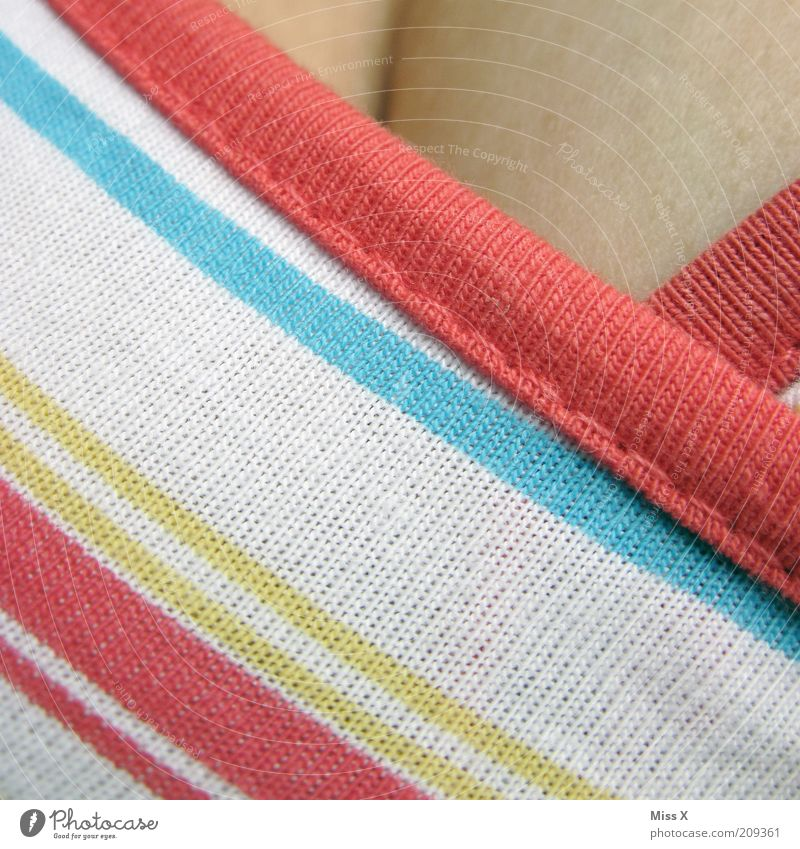 Human being Feminine Skin Clothing Breasts Chest Young woman Striped Section of image Low neckline Pattern Light Multicoloured