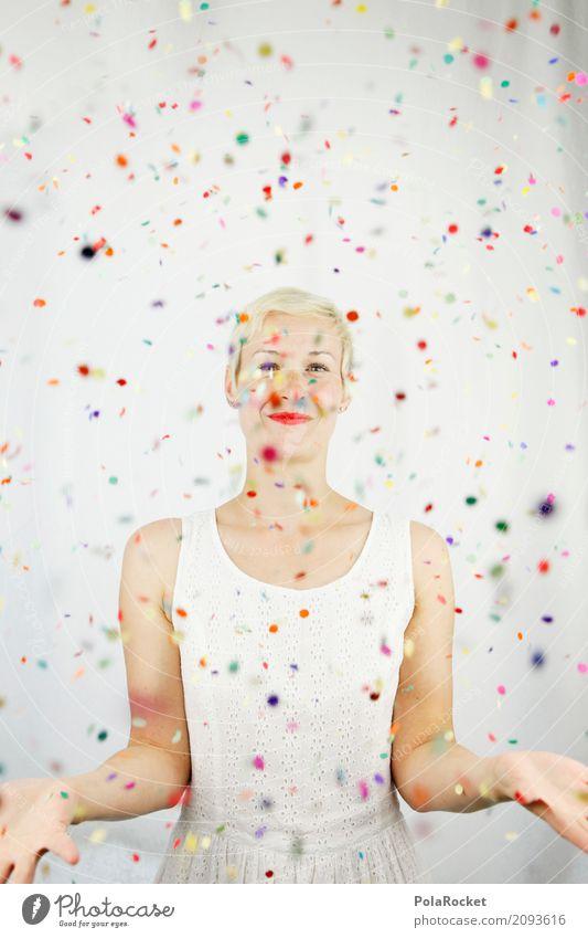 #A# Bunderkunt Art Work of art Esthetic Joy Comical Funster The fun-loving society Confetti Many Multicoloured Creativity Dress Becoming Small Blonde Woman