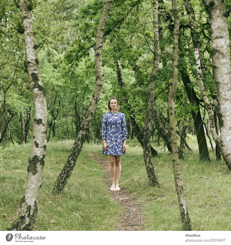 on the way Joy Beautiful Harmonious Well-being Trip Summer Young woman Youth (Young adults) Legs 18 - 30 years Adults Landscape Beautiful weather Tree