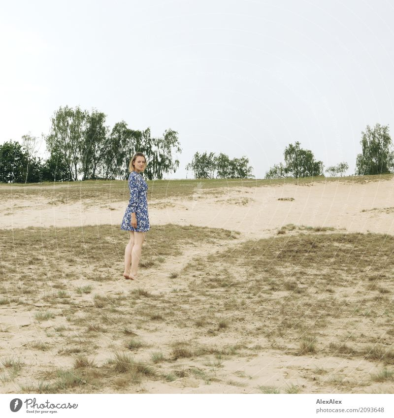 almost passed Beautiful Trip Dune Marram grass Young woman Youth (Young adults) 18 - 30 years Adults Nature Landscape Earth Summer Beautiful weather Tree Bushes