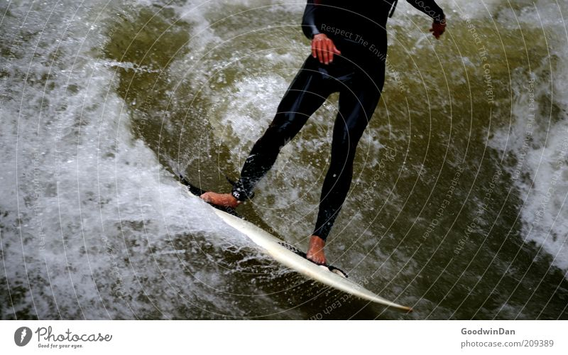 Headless undertaking I Sports Sportsperson Surfing Surfer Surfboard Human being Masculine Young man Youth (Young adults) Environment Nature Water Brook