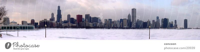 Chicago Winter Skyline (Panorama) Illinois Lake Michigan Cold Sears Tower High-rise Snow layer North America USA Ice Hancock Center