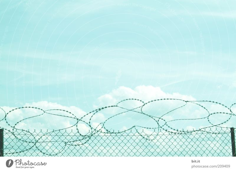 Sky Clouds Environment Moody Weather Closed Safety Threat Beautiful weather Fence Border Barrier Distress Wire Captured Pole