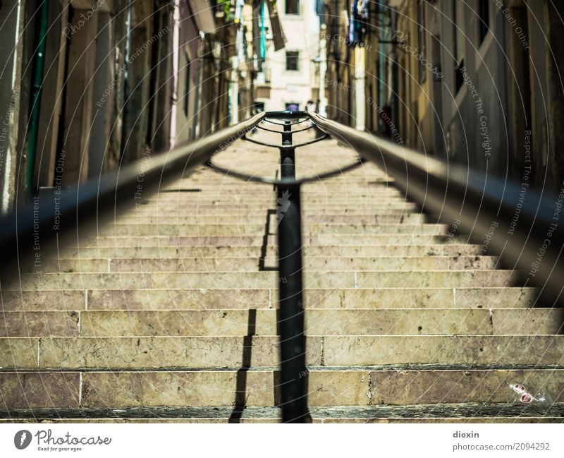 Handrail in Lisbon Vacation & Travel Tourism Far-off places Sightseeing City trip Portugal Capital city Port City Downtown Old town Deserted