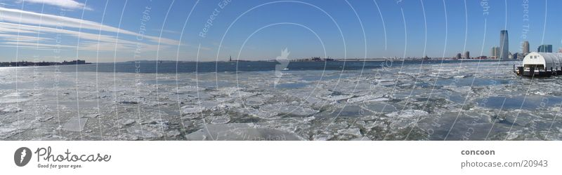 Cold Ice USA Harbour City Skyline New York City Statue of Liberty Morning Ice floe North America Winter morning