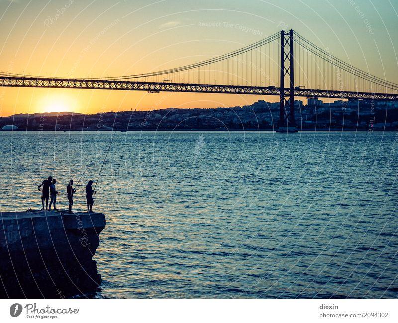 arialva sunset Vacation & Travel Tourism Sightseeing City trip Summer Sun Ocean Waves River bank Tejo Lisbon Portugal Capital city Port City Outskirts Bridge