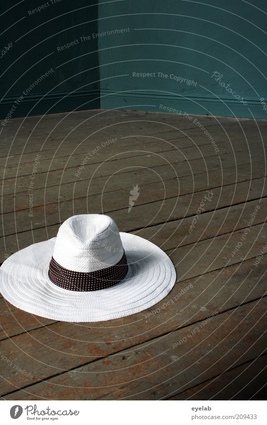 You can leave your hat...(2.hanger) Old Hip & trendy Beautiful Retro Round Brown White Elegant Fashion Whimsical Hat Straw hat Wood Parquet floor Floor covering