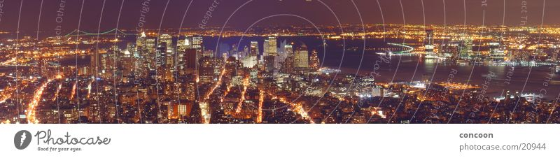 Lighting Large High-rise USA Vantage point Skyline Illuminate New York City Panorama (Format) Night shot Overview City trip Urbanization City light