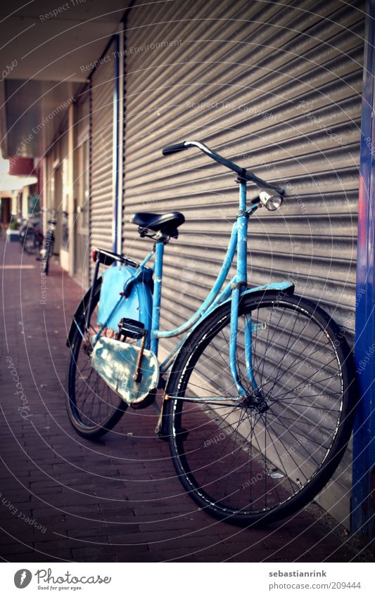 Old Blue City Dark Stone Metal Door Bicycle Dirty Transport Gloomy Retro Gate Cycling Garage Original